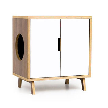 The MINI Cabinet /// Mid Century Modern Pet Furniture // Cat Litter Box Cover // Pet House // Side Table