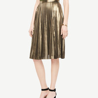 Metallic Pleated Skirt | Ann Taylor