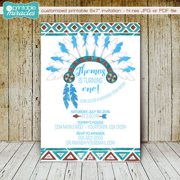 Tribal birthday invitation, Printable pow wow invite, custom little Indian party digital watercolor bohemian invitations