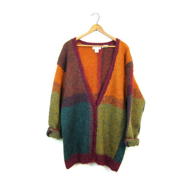 FUZZY Knit Mohair Sweater Button Down Cardigan Sweater Cozy Oversized Colorblock Sweater Hand Knit Sweater Pink Green Orange Preppy Large