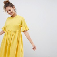 ASOS Cotton Slubby Frill Sleeve Smock Dress at asos.com