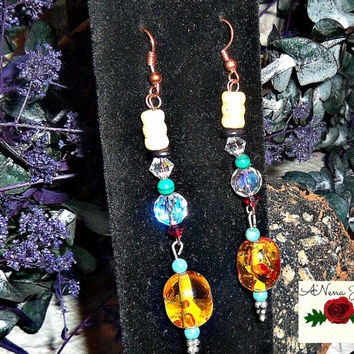 "Tribal Earrings: Handmade Wood, Malachite, Turquoise, Brown Paua Shell , Amber Glass,And Swarovski Crystals, Dangle, ""Amber Glow"""