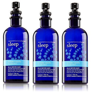 Lot of 3 Bath and Body Works Aromatherapy Lavender Vanilla Pillow Mist 5.3 Ounce