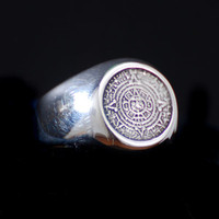 Sterling Silver AZTEC CALENDAR RING Sizes 8-11 Hand Made by David Rasnick