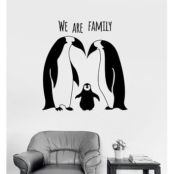 Vinyl Wall Decal Penguins Animal Family Cute Room Decor Stickers Unique Gift (ig3133)