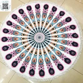 Fun Printed White Pink Blue Peacock Feather Design Large Round Beach Towel Blanket with Fringe