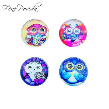 1pcs 25mm Hand-drawing Style Home Decoration Cute Owl Crystal Glass Refrigerator Magnet Kids' Cartoon Magnetic Sticker H004