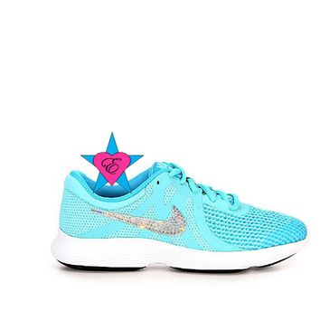 Bling Shoes for Girls Aqua Nike Revolution 4 GS 3. 5- 7