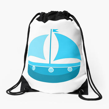 'Blue Sailing Boat ' Drawstring Bag by Dizzydot