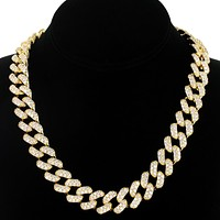 "Men's 14k Gold Finish Iced out 15mm 18"" Cuban Choker Chain"