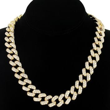 Iced Out 14k Gold Finish 15mm  Miami Cuban Choker Necklace