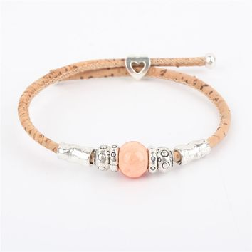 Natural cork with color Ceramic beads women Bracelet vintage original handmade wood jewelry with natural material  BR-190