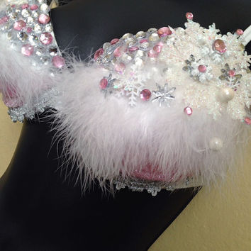 36 C- Frozen pink ice queen rave bra, (36C) EDC outfit, rave outfit, costume, festival, edm