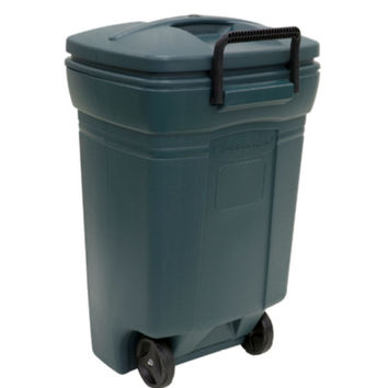45 Gallon Rubbermaid Wheeled Trash Can Heavy-Duty Garbage Can Evergreen Finish