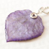Lavender Purple Aspen Leaf Pendant, Bridesmaid Necklace