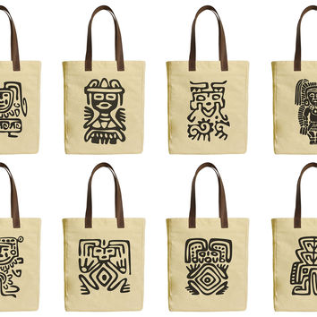 Set of Mexican Symbols Beige Printed Canvas Tote Bags Leather Handles WAS_30