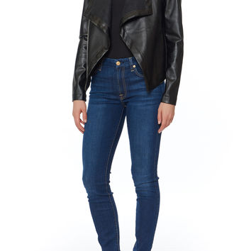 Peppin Draped Faux Leather Jacket