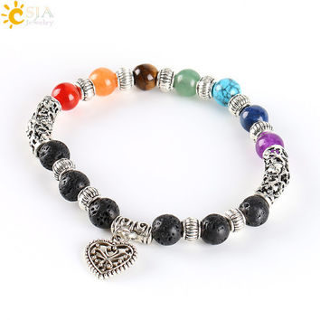 VIP CSJA 7 Chakra Rainbow Bracelet Love Heart Pendant Boho Female Antique Silver Plated Jewelry Purple Crystal Jade Red Agate E281
