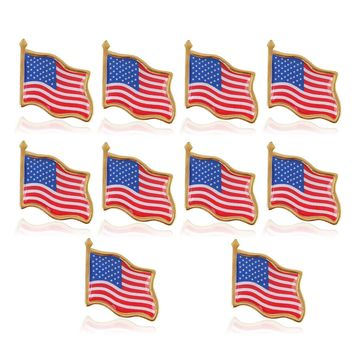 10PCS American Flag Lapel Pin