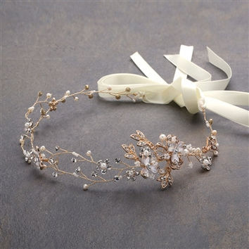 Handmade Couture Bridal Hair Headband with Hand Painted 14K Gold Vines