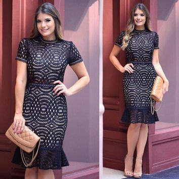 Short Sleeve Lace Patchwork Fishtail Mermaid Dresses Women Black Summer Hollow Out Ruffles Knee Length Party Dress