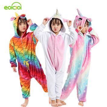 EOICIOI 21 New Sweet Cartoon Pegasus Panda Unicorn Children Boys Girls Pajamas Soft Flannel Animal Sleepwear Kids Blanket Onesuit
