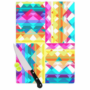 "Miranda Mol ""Triangle Checker"" Pastel Rainbow Cutting Board"