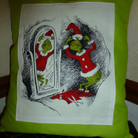 How the GRiNCH Stole Christmas PiLLOWS 14X12 BoUTIQUE HANDMaDE Beautifully Crafted - Contasting FABRIC on Back Side - Designs by Sugarbear