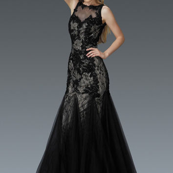 G2159 Black Lace Tulle Mermaid Prom Dress Evening Gown