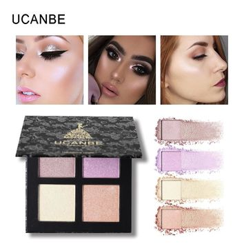 UCANBE Brand New 4 Colors Highlighter Makeup Palette Shimmer Powder Face Brighten Contour Concealer Bronzer Pigments Cosmetics
