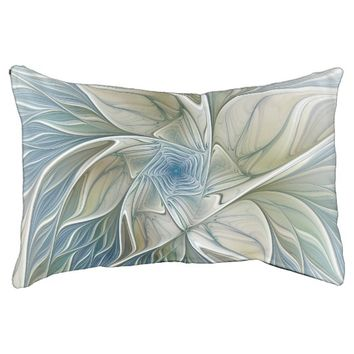 Floral Dream Pattern Abstract Blue Khaki Fractal Pet Bed