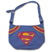 Superman Distressed Logo Hobo Bag Blue