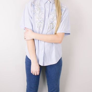 Vintage Floral Embroidery Denim Chambray Button Up Blouse