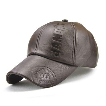 Trendy Winter Jacket JAMONT New fashion high quality fall winter men leather hat Cap casual moto snapback hat men's baseball cap AT_92_12