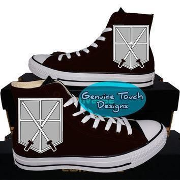 custom converse attack on titan fanart shoes anime shoes custom chucks painted sh
