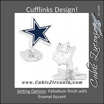 Men's Cufflinks- Palladium Edition Dallas Cowboys with Enamel Accent (Officially Licensed)