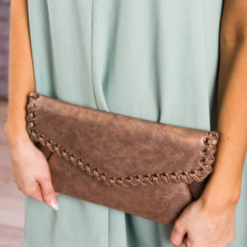 Stitch A Fit Clutch, Bronze