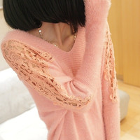 Lace Sleeves Shoulder Sweater