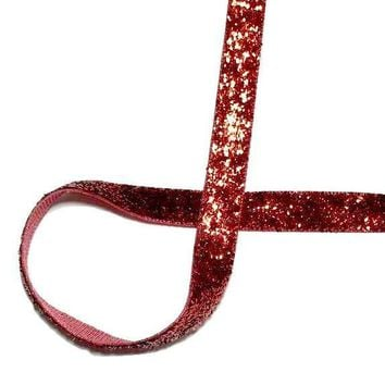 "Red 3/8"" GLITTER ribbon"