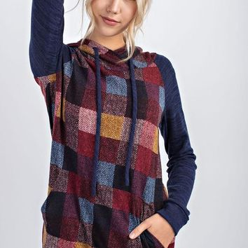 ISABELLA Plaid Checkered Hoodie in Navy