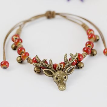 cute deer head charm bracelets bangles for women ceramic beads copper bell rope chain animal ethnic fashion jewelry new arrival