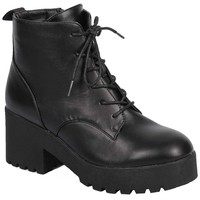 Lace up Vegan Leather Lug Sole Chunky Heel Women's Combat Boot