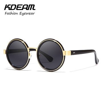 New Round Design Women Sunglasses summer Sun Glasses mirror Eyeglasses UV400 with case