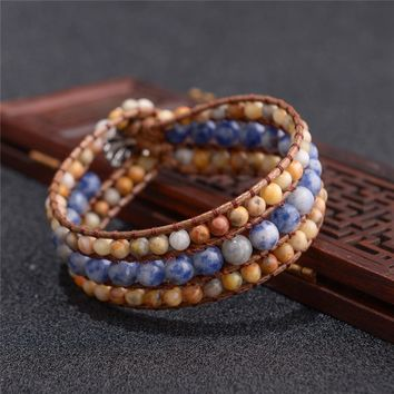 Dropshipping Unique Handmade Three layer Bracelet Natural Stones Leather Wrap Bracelets Cuff Bracelet Jewelry Gifts For Girls