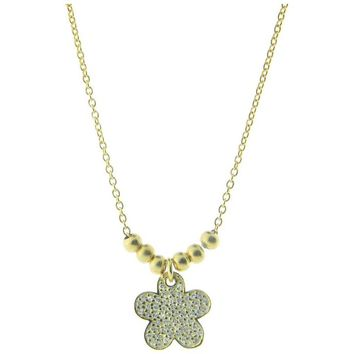 "Sparkling Pave Cz Daisy Flower Pendant Necklace in Gold Plated Sterling Silver, 16"" + 2"" Extender"