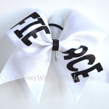 "3"" Wide Luxury Cheer Bow - Fierce on White"
