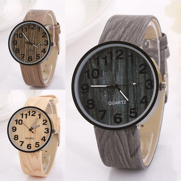New Simple Elegant Wood Grain Leather Quartz Watch Dress Wristwatches Couple