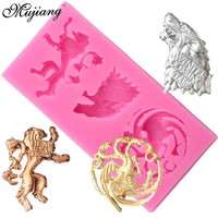 Cartoon Wolf Lion Candy Chocolate Jelly Mold Game of Thrones Family Badges Silicone Molds Cupcake Fondant Cake Decorating Tools