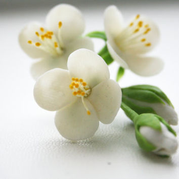 Bridal hair flower - Spring blossom hair flower. Apple, Jasmine, Blossom Hair Clip. Wedding hair flower. Spring hair flower, Hair accessory.