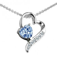 Star K 7mm Heart Shape Simulated Aquamarine Heart Pendant